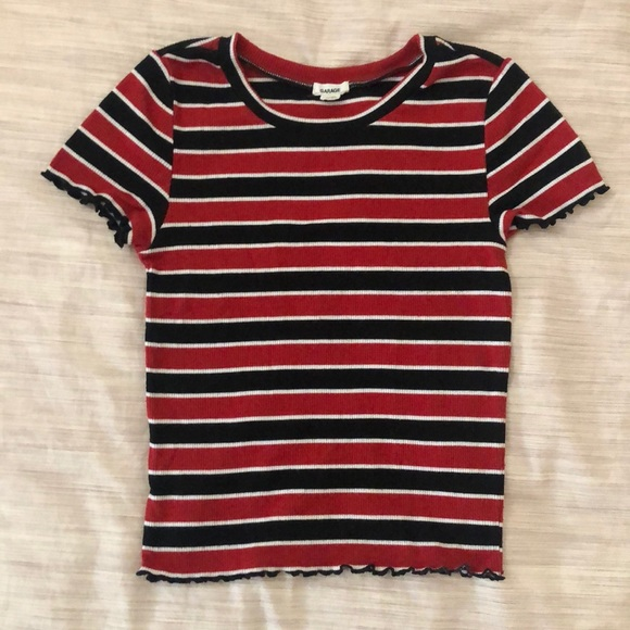 Ribbed striped red&black tee